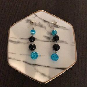 Drop Earings - Turquoise and black handmade